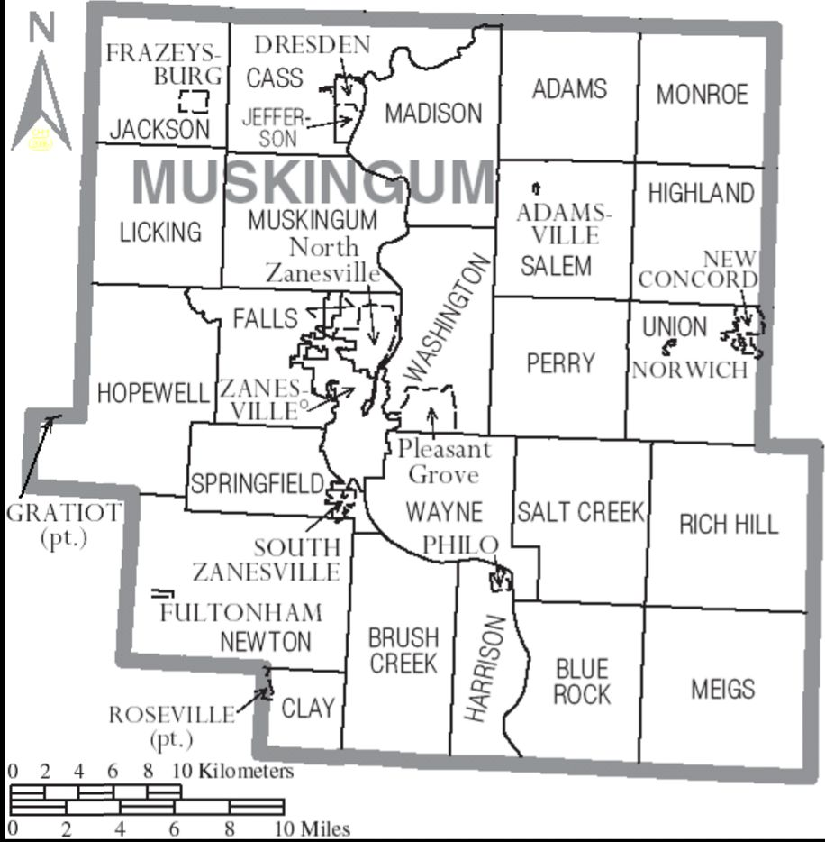 Ohio muskingum county new concord - Muskingum County Ohio With Municipal And Township Labels 13